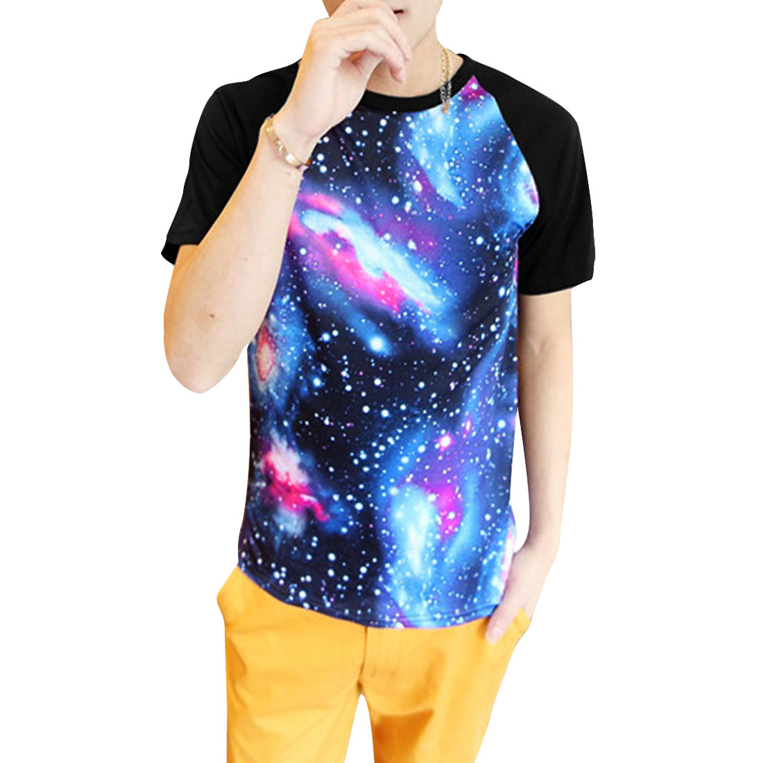 Mens Round Neck Short Raglan Sleeve Space Prints Multicolor T-Shirt S