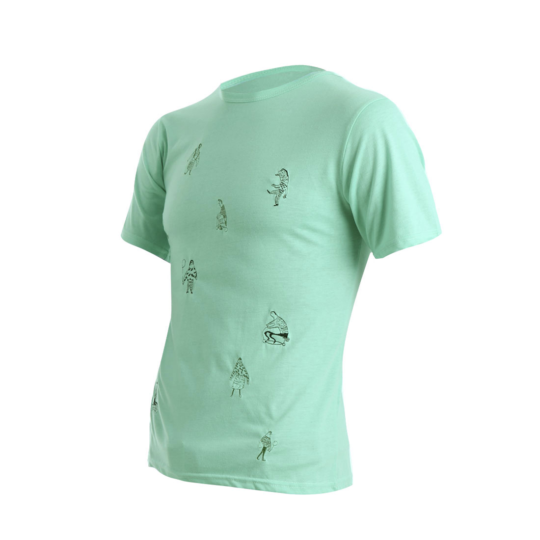 Mens Chic Round Neck Short Sleeve Embroidered Cartoon Design Mint Shirt S