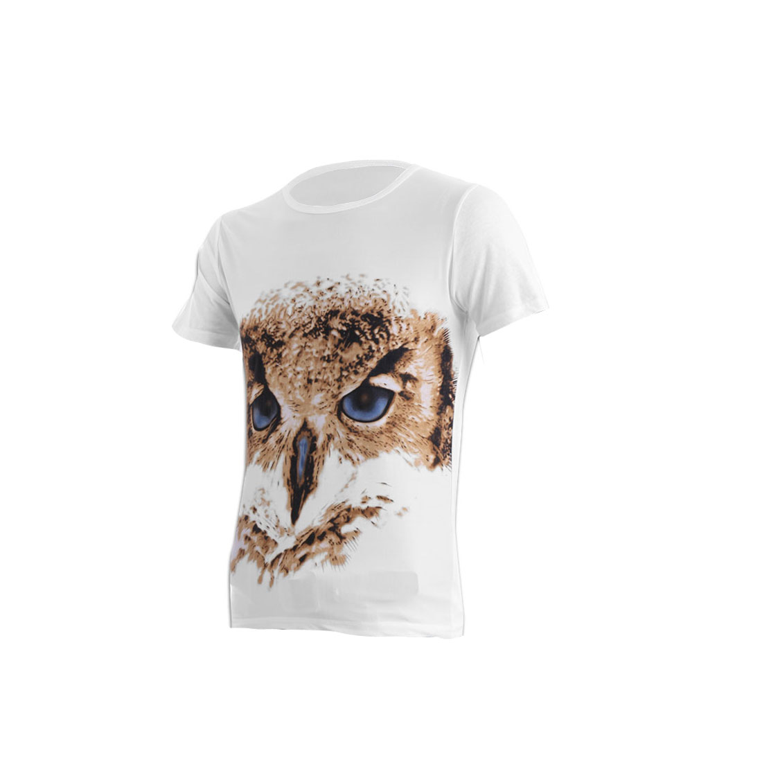 Men Round Neck Pullover Short Sleeve Eagle Prints Stretchy T-shirt White S