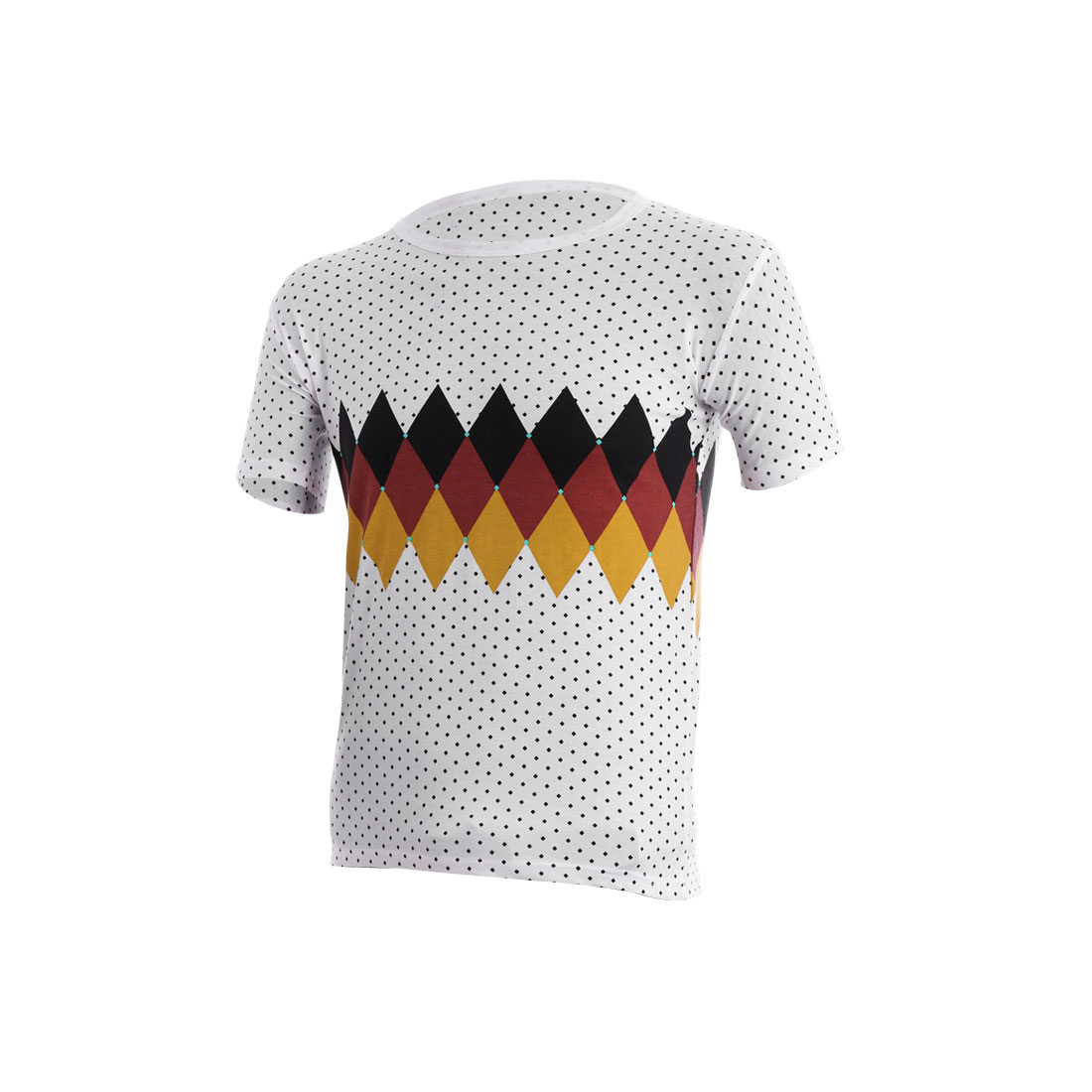 Men Close-fitting Casual Argyle Prints Short Sleeve White Tee Shirt S
