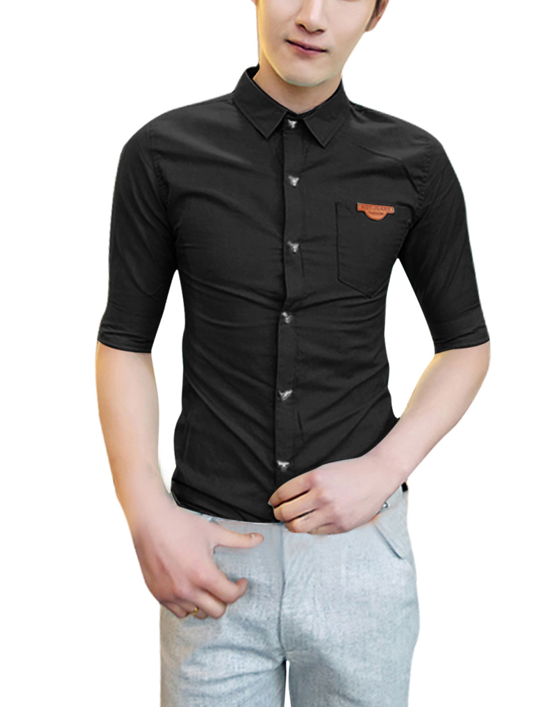 Man Chest Pocket Stripes Buttoned Cuff Stylish Shirt Black S