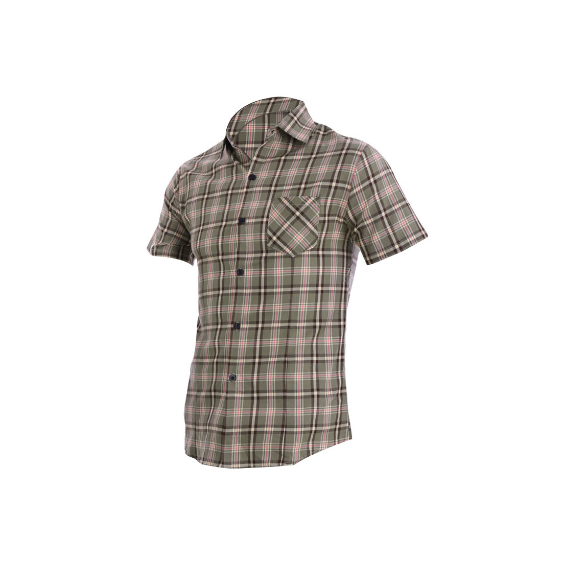 Men Single Breasted Buttons Front Check Pattern Tops Army Green M