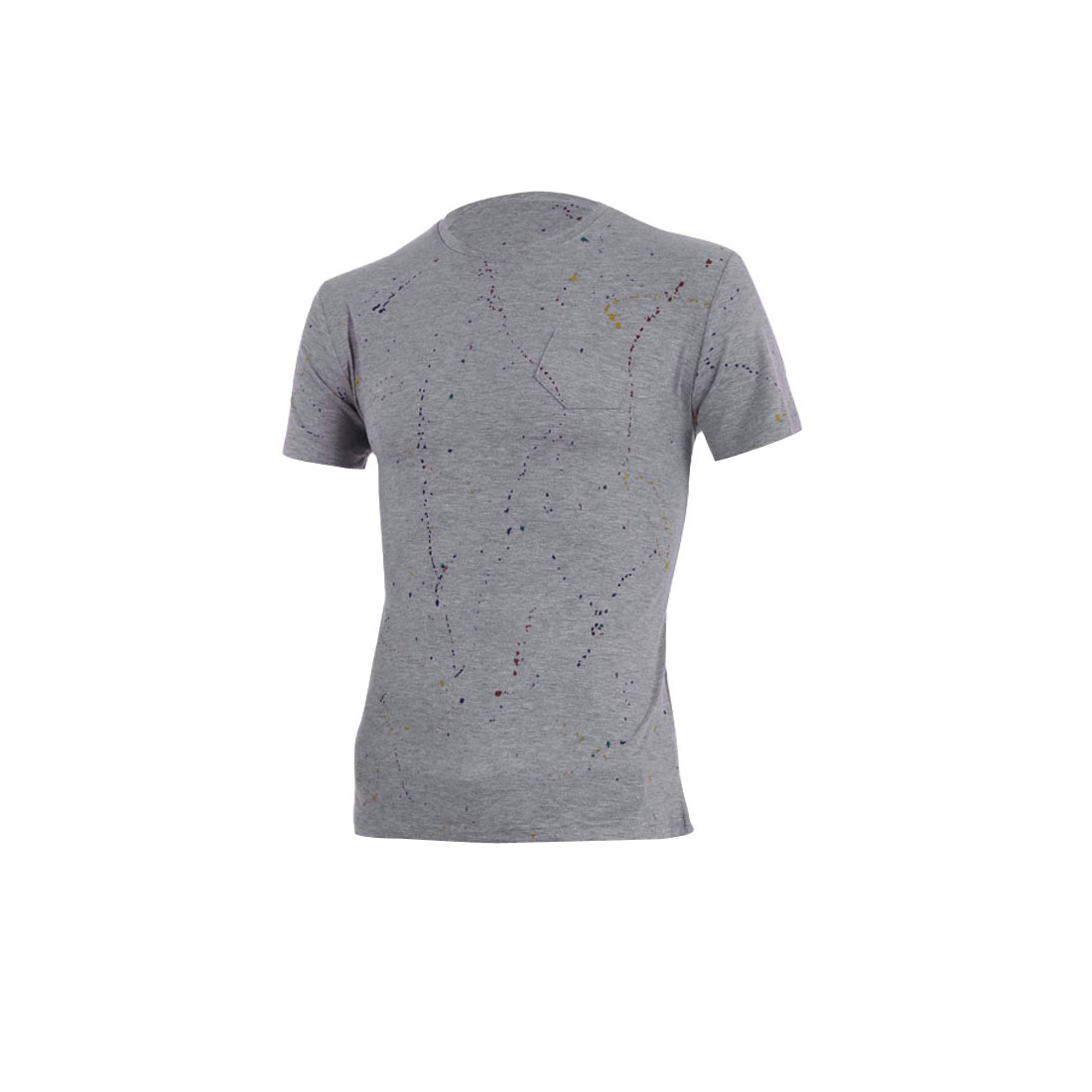 Pullover Style Breast Pocket Round Neck Gray T-shirt for Men M