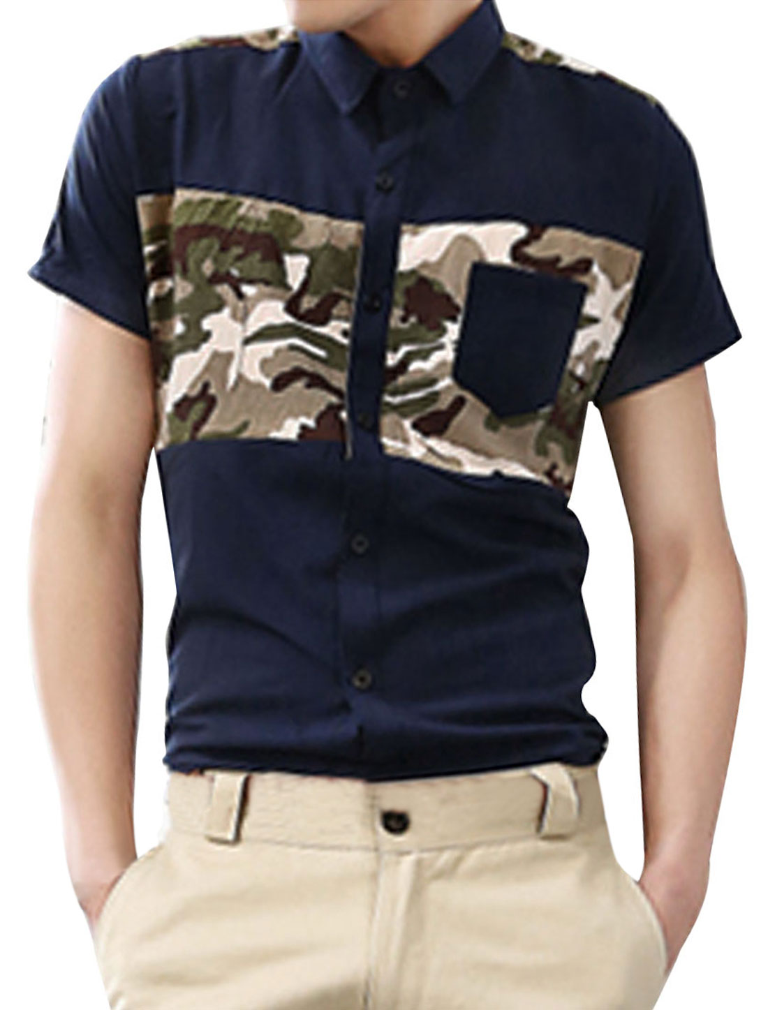 Men Dark Blue Point Collar Short Sleeve Camouflage Pattern Casual Shirt M