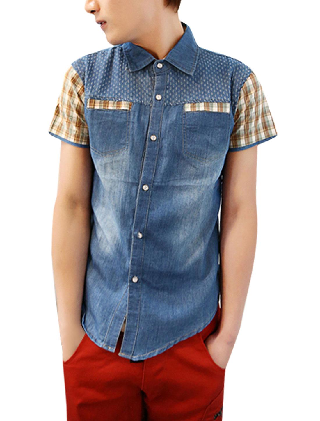 S Dark Blue Men Short Sleeves Point Collar Buttoned Graphic Shirt