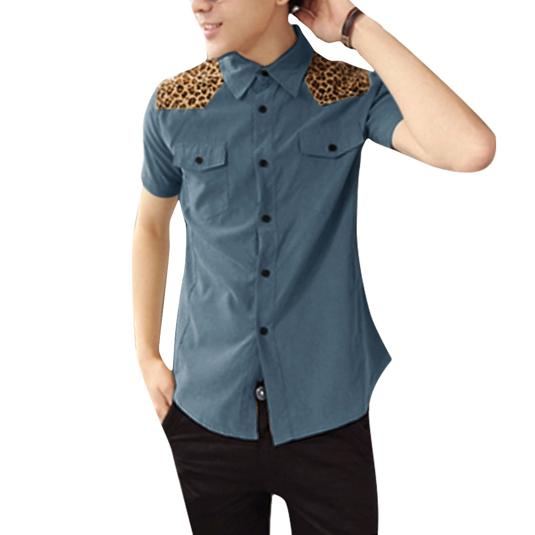 Men Single Breasted Buttons Front Leopard Pattern Tops Lake Blue S