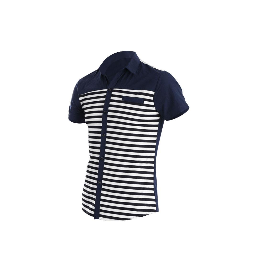 Man Korean Style Short Sleeve Point Collar Shirt Navy Blue S
