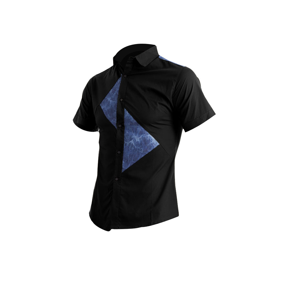 Men Single Breasted Buttons Front Triangle Design Tops Black S