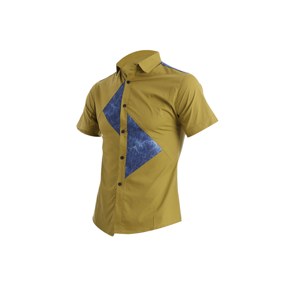 Man Short Sleeve Symmetry Point Collar Contrast Color Shirt Dark Yellow S