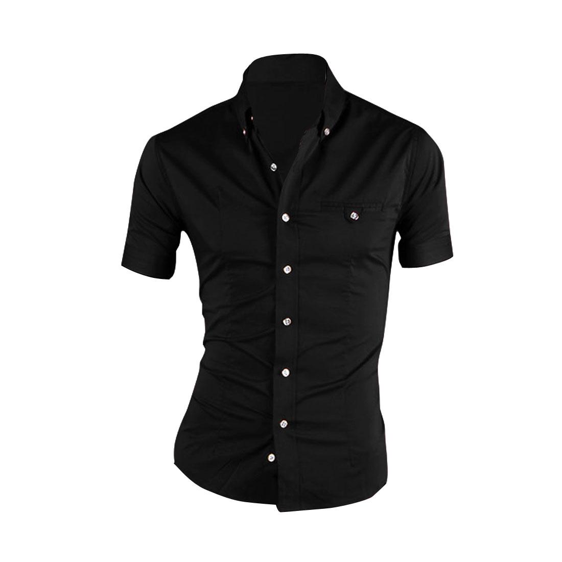 Man Chest Pocket Decor Plaids Buttoned Cuff Stylish Shirt Black M