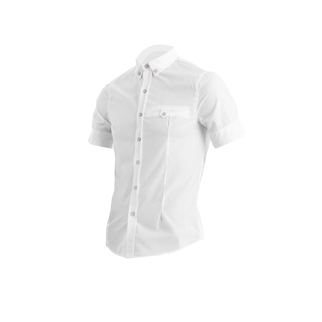 Men Single Breasted Buttoned Pocket Decor Spring Shirt White M
