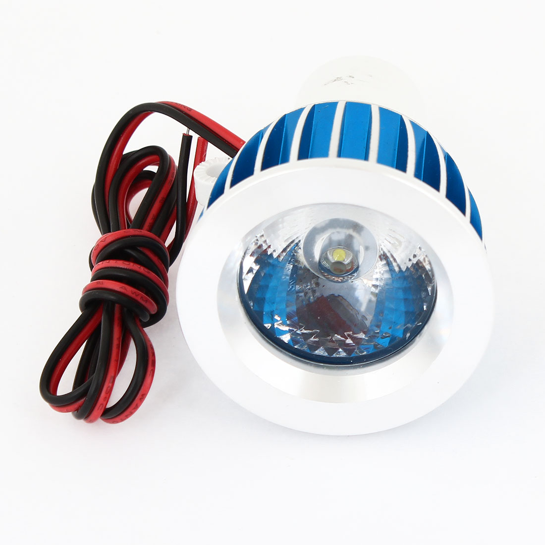 Motorcycle Silver Tone Blue Aluminum Shell White 3W LED Decorative Spot Light