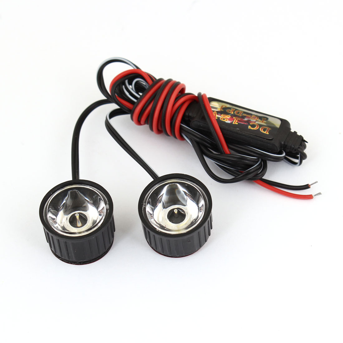 2 Pcs Eagle Eye Round Shape LED White Strob Flash Light for Motorcycle DC 12V