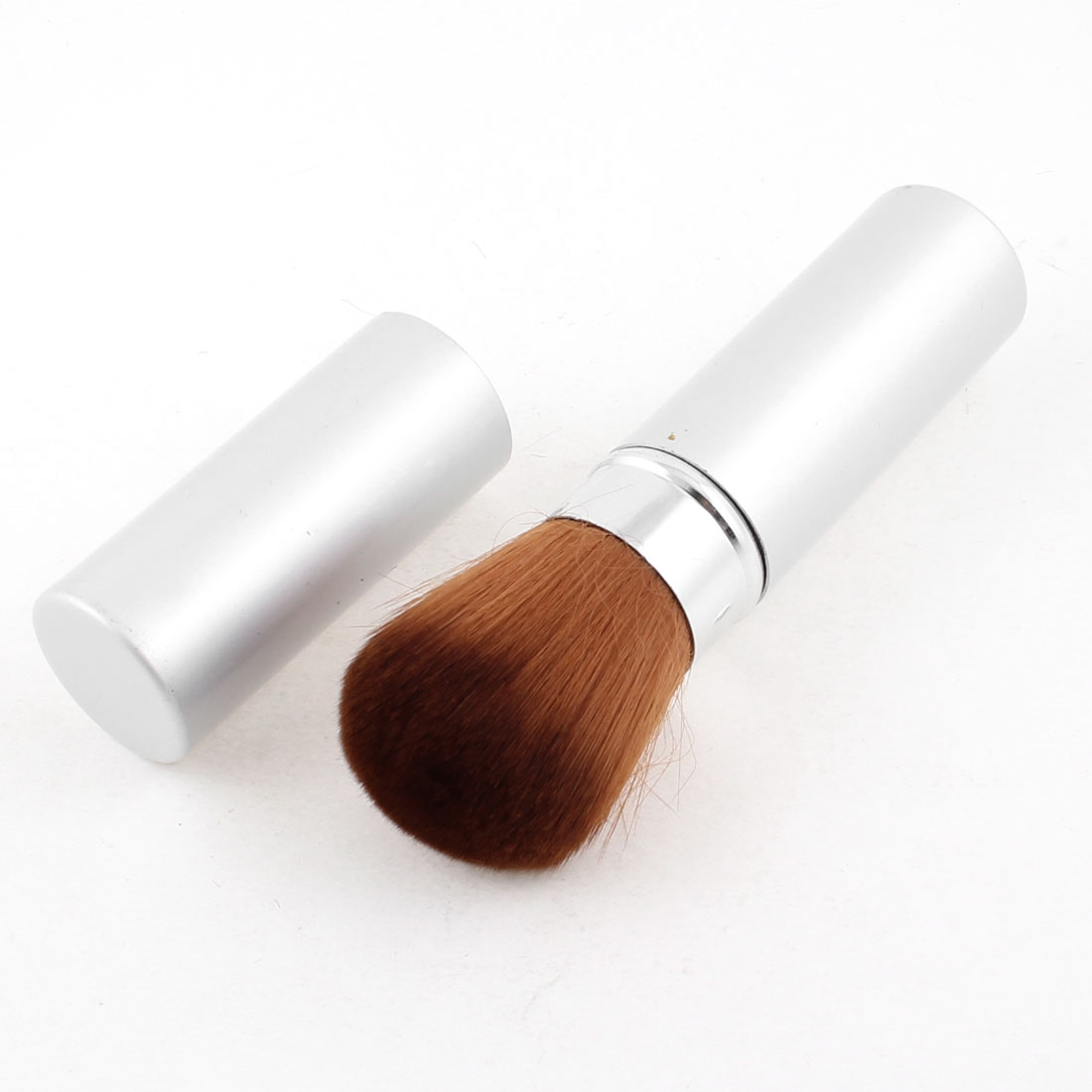Silver Tone Alloy Shell Brown Soft Synthetic Hair Retractable Blusher Brush