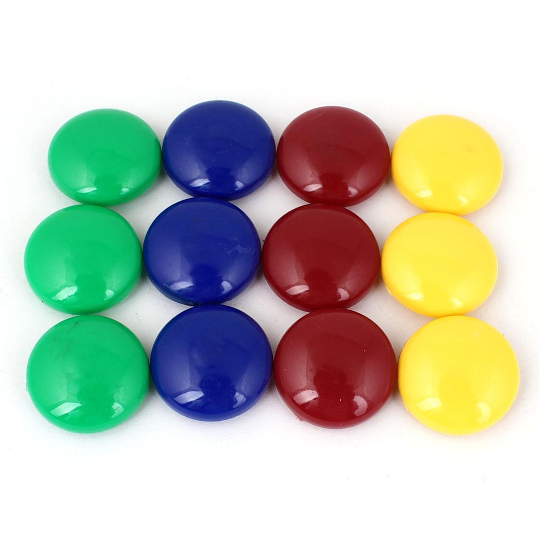"""12 Pcs Round 0.79"""" Diameter 4 Colors Fridge Magnet Home Decoration"""