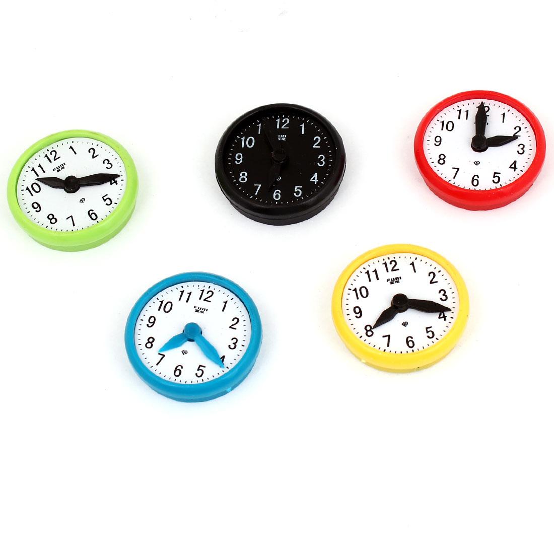 "5pcs Plastic Clock Design Washing Machine Fridge Magnets 1.4"" Dia"