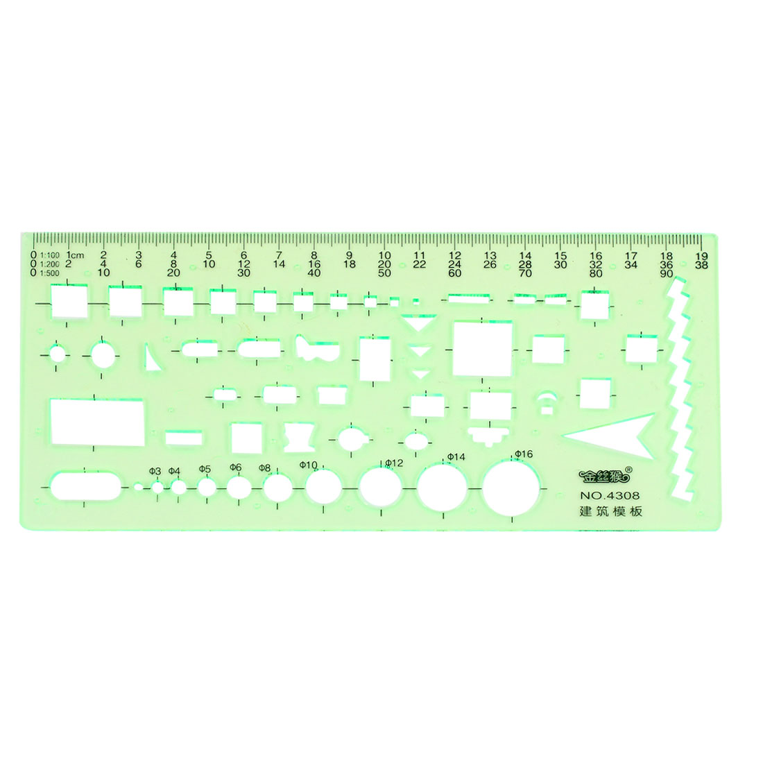 19.7cm Long Rectangle Shape Electrician Template Template Ruler Pale Green