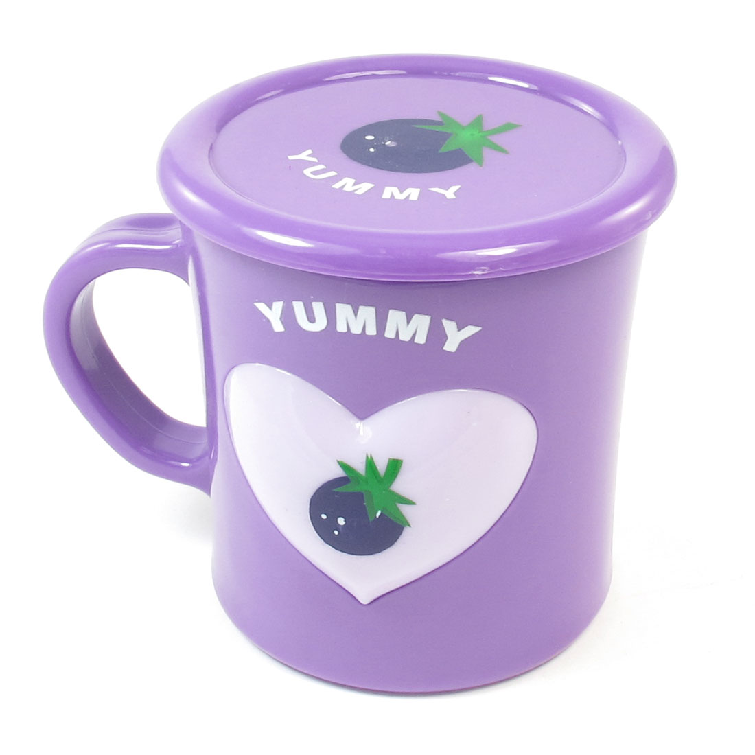 Home Office Purple Tomato Pattern Plastic 350ml Drinking Water Mug Cup w Lid