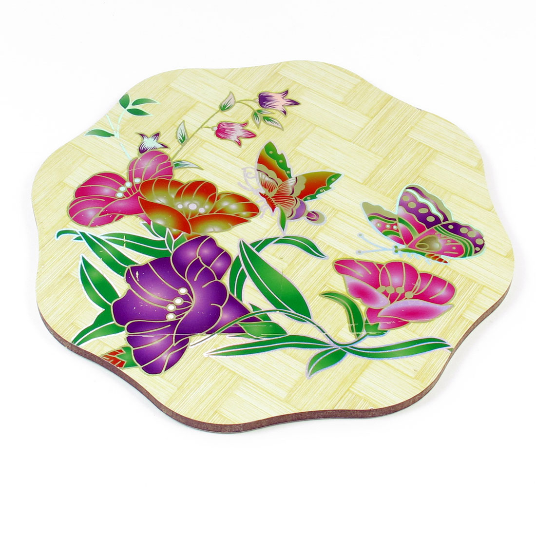 Home Tea House Octagon Shape Tri Color Flower Print Wood Cup Pot Mat Coaster Pad