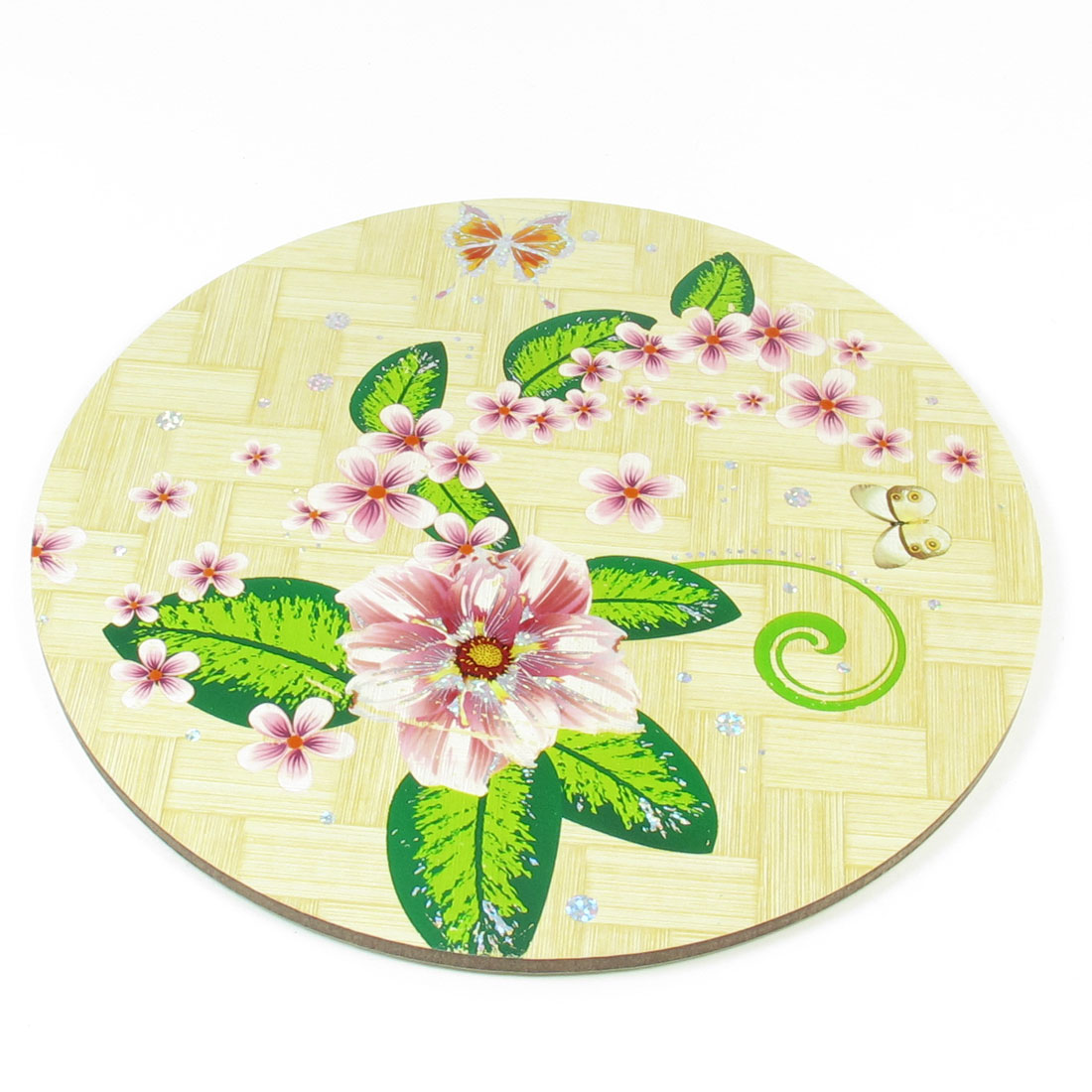 Home Tea House Round Design Beige Green Pink Flower Print Wood Cup Pot Mat Coaster Pad