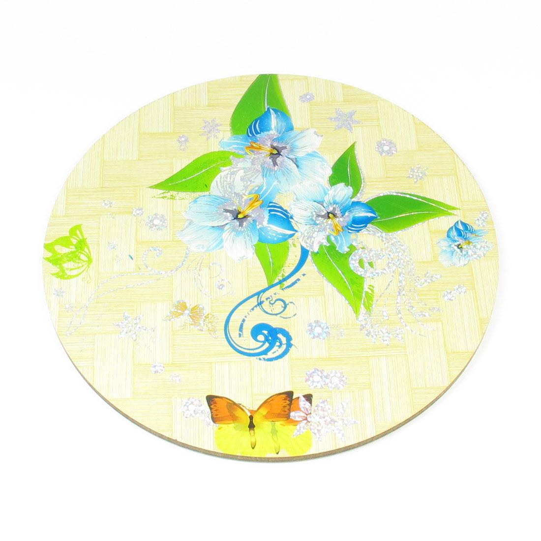Home Tea House Round Design Beige Blue Green Flower Print Wood Cup Pot Mat Coaster Pad