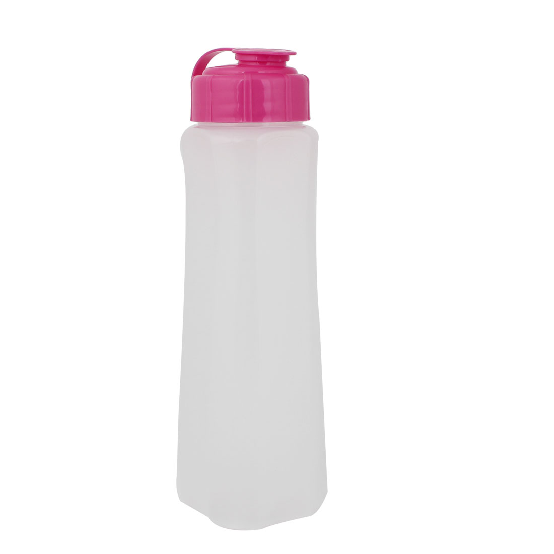 Travel Fuchsia Lid White Plastic Sports Water Cup Drinking Bottle 1000ML