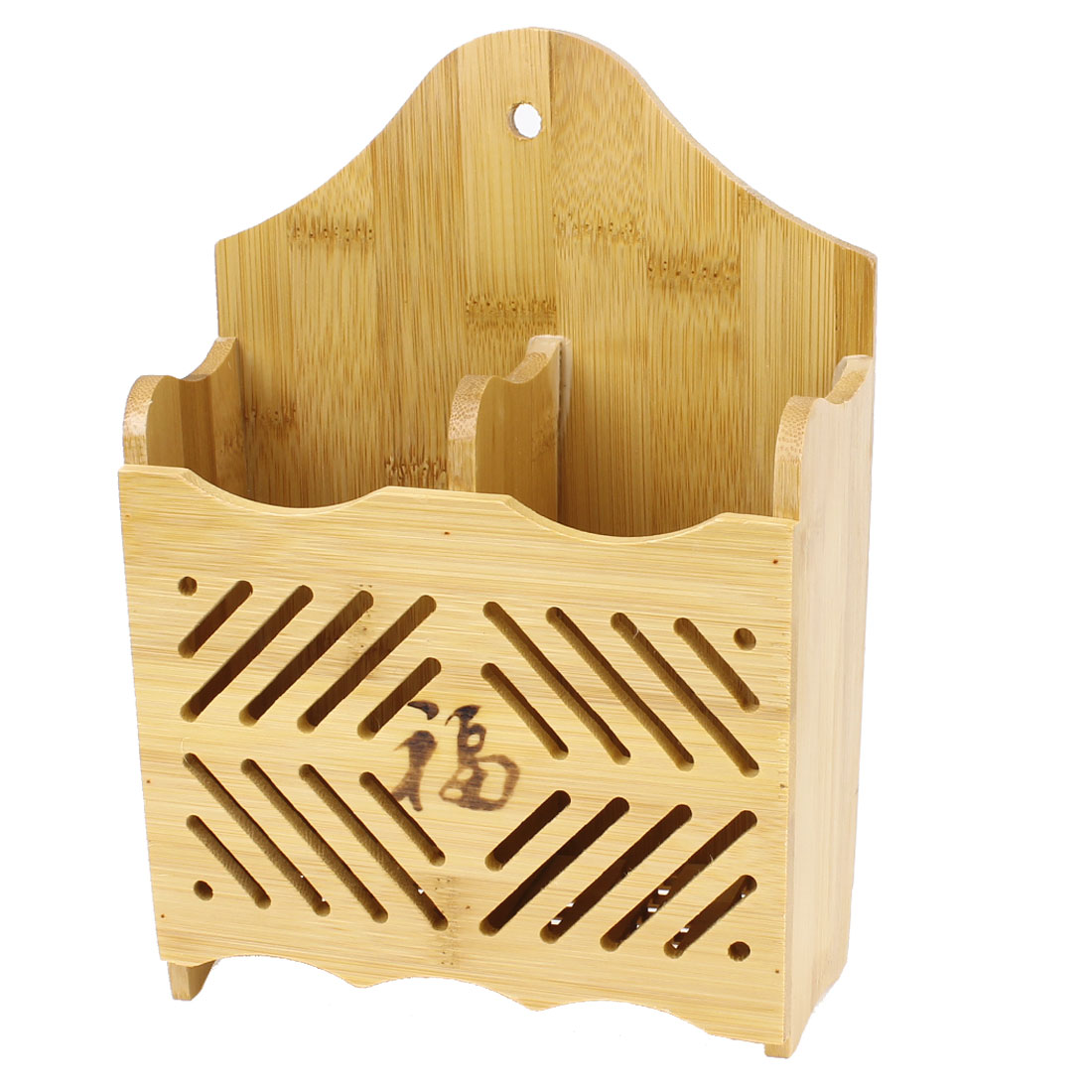 Wood Color 2 Compartments Hollow Out Bamboo Pencil Pen Organizer Box
