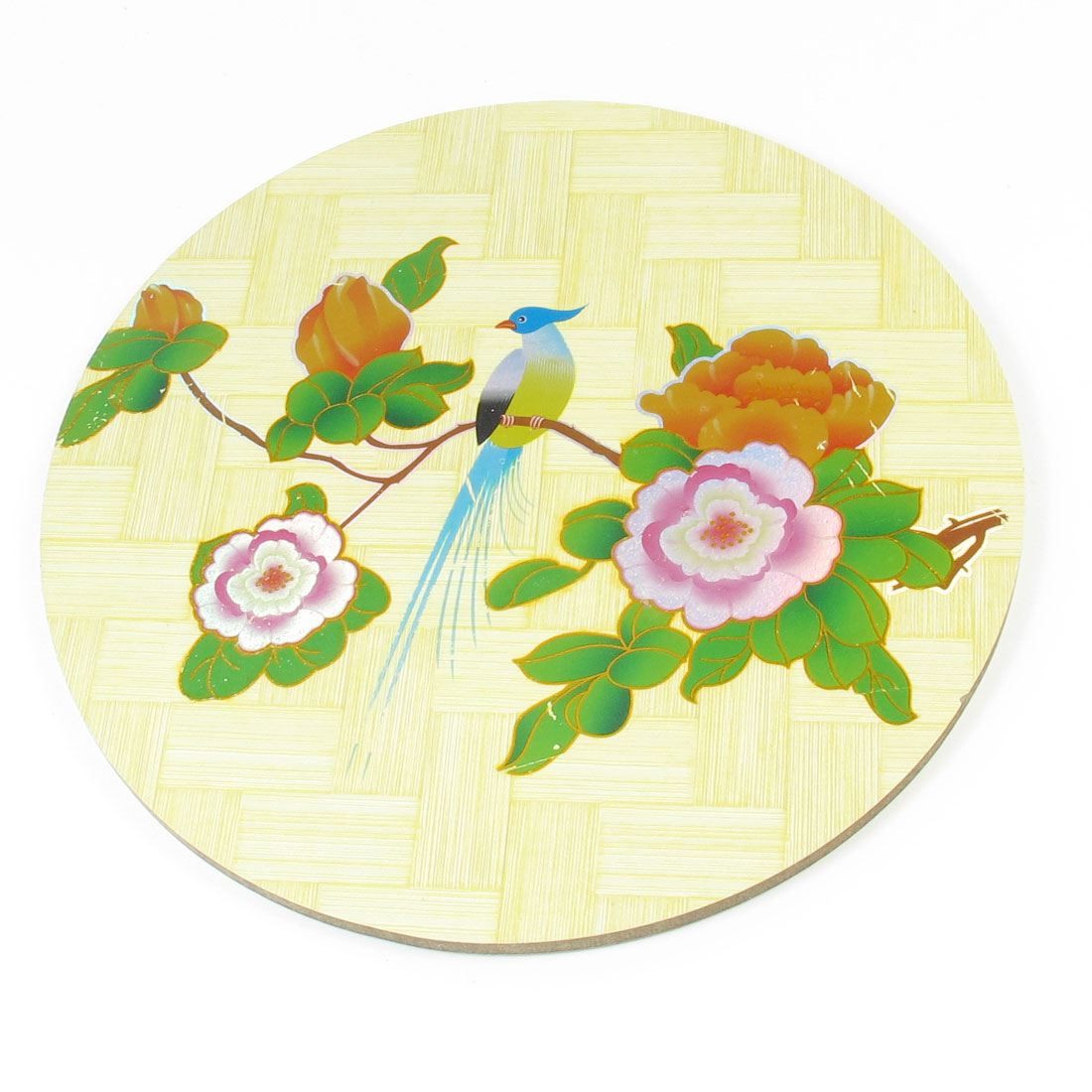 Home Round Design Tri Color Plum Blossom Print Wood Cup Pot Mat Coaster Pad