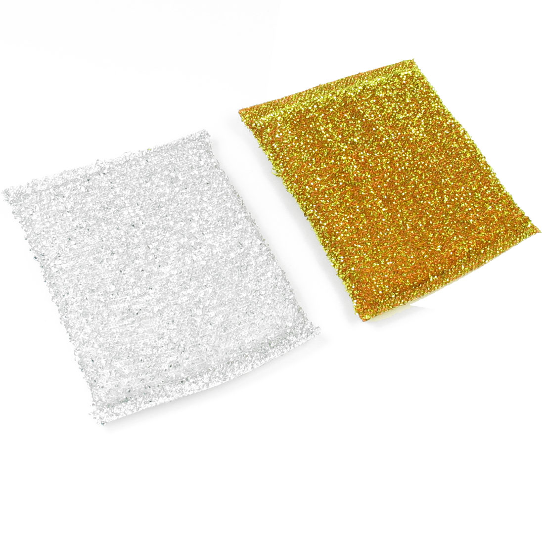 2 Pcs Metallic Thread Wraped Sponge Silver Gold Tone Dish Pad Cleaner