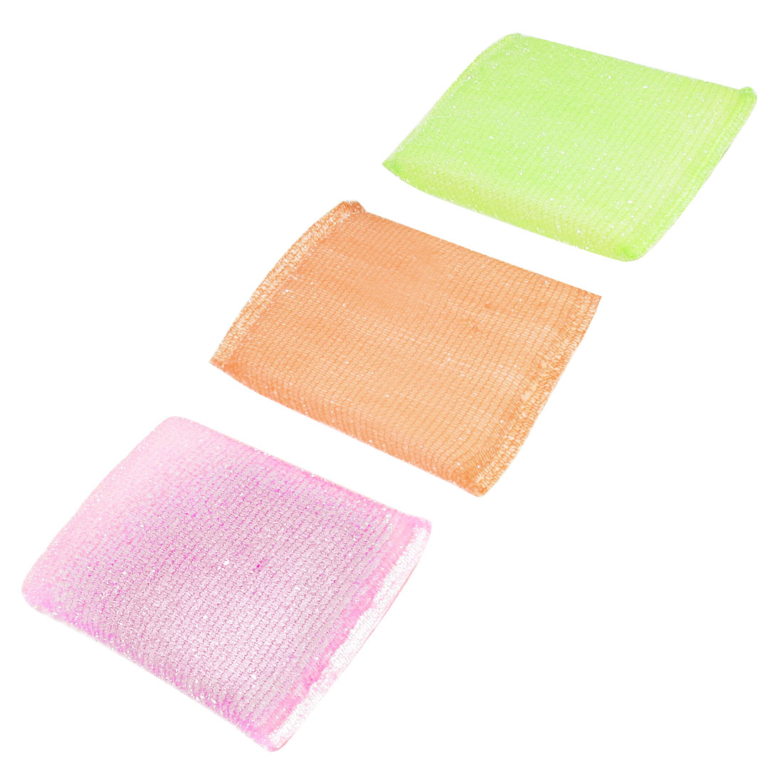 Kitchen Cotton Blends Wraped Sponge Pink Green Orange Dish Pad Cleaner 3 Pcs