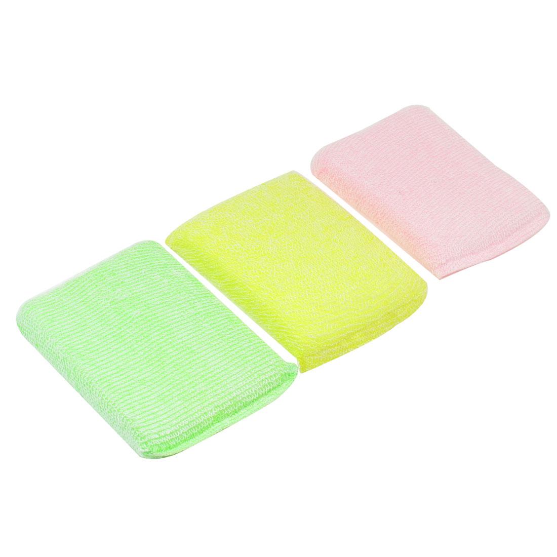 Kitchen Cotton Blends Wraped Sponge Tri Color Dish Pad Cleaner 3 Pcs