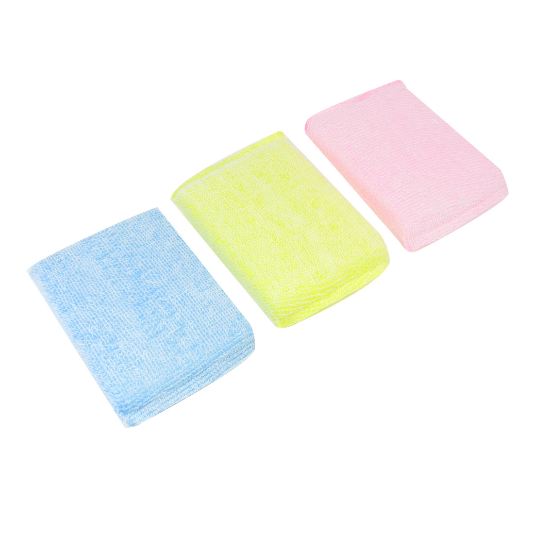 Kitchen Cotton Blends Wraped Sponge Pink Blue Yellow Dish Pad Cleaner 3 Pcs