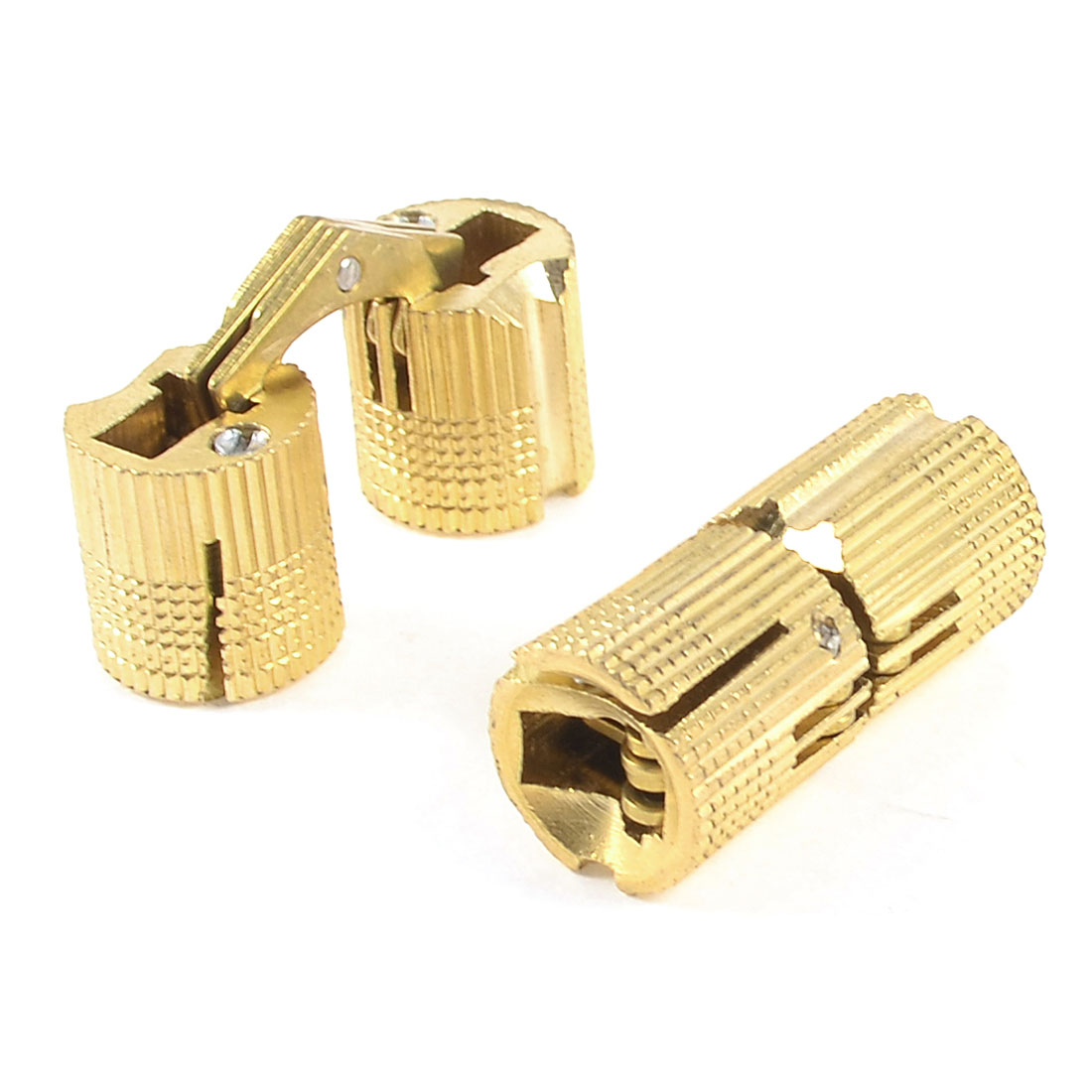 Furniture Gold Tone Metal 30mm Hight Door Window Cabinet Hinge 2 Pcs