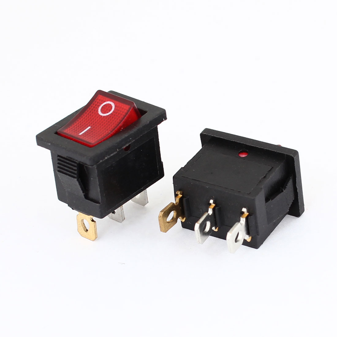 2 Pcs Red Indicator Light 3 Pins 2 Positions ON-OFF Rocker Switch