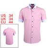Men Casual Color Block Pocket Button Down Short Sleeve Shirt Pink S