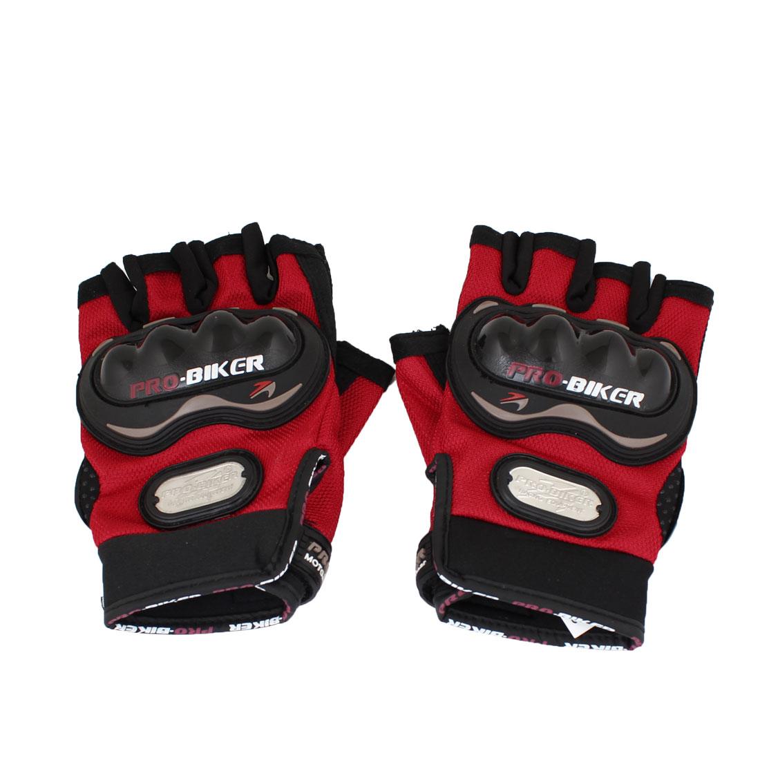 Black Red Motorcycle Driving Sports Hook Loop Fastener Half Finger Gloves Pair