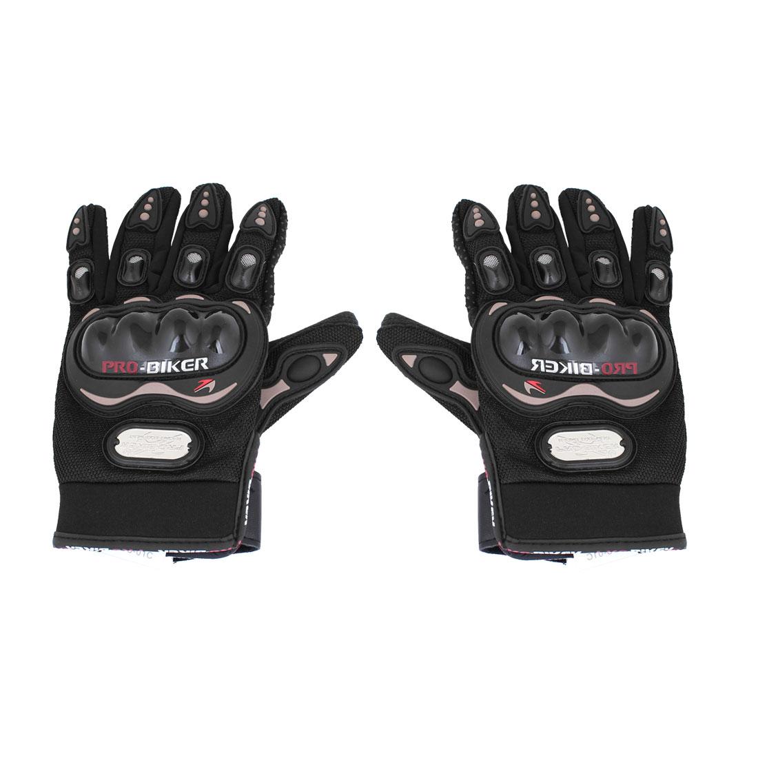Men Cycling Motorcycle Hook Loop Closure Full Finger Sports Gloves Black Pair