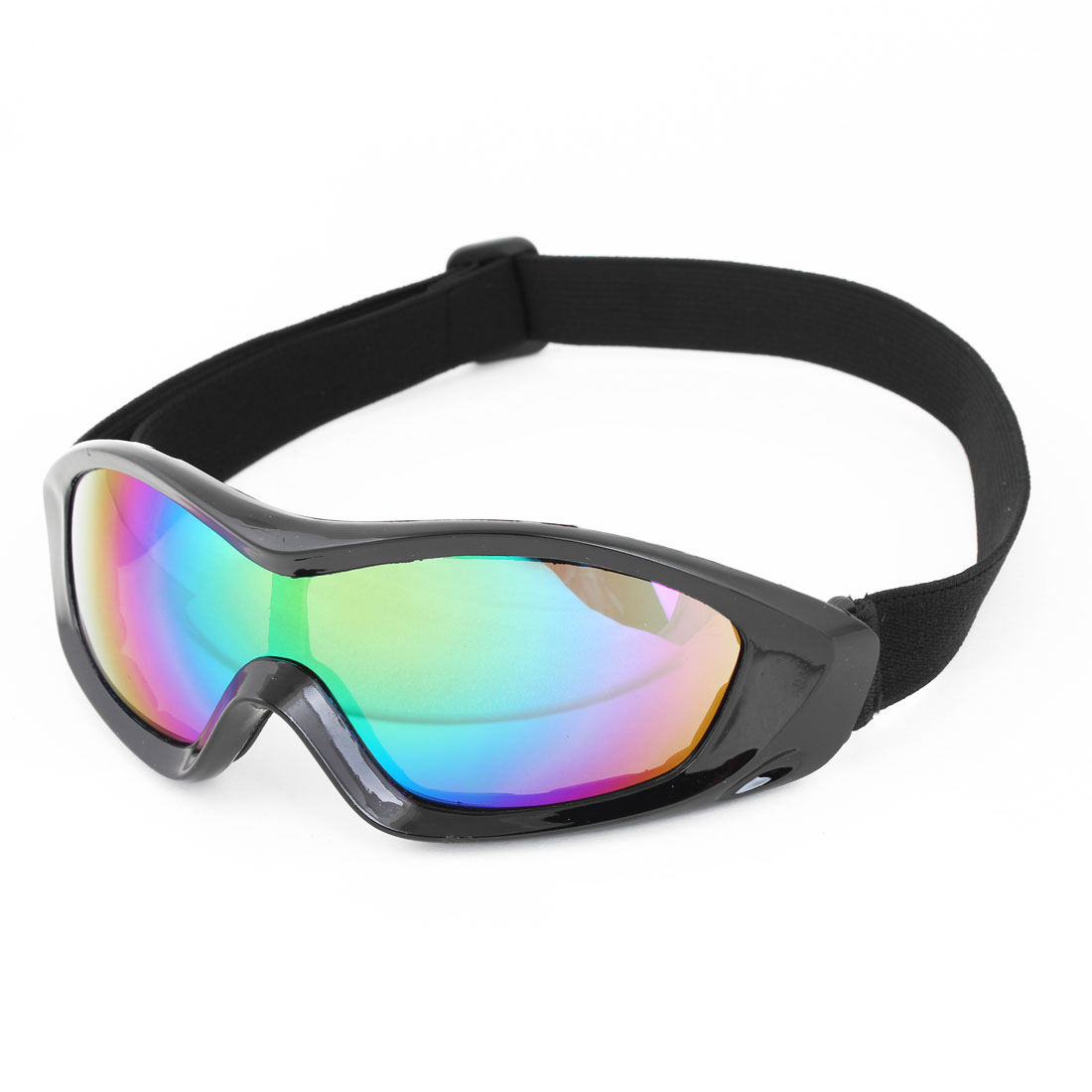 Black Full Frame Multicolored Lens Motorcycle Protective Goggles Glasses