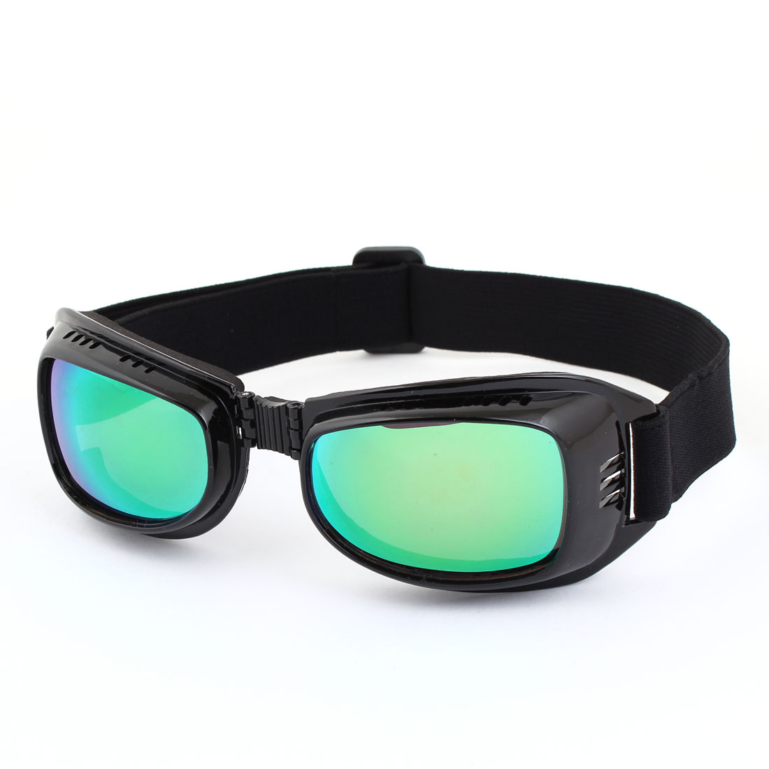 Unisex Foldable Frame Elastic Band Strap Green Lens Motorcycle Goggles Glasses