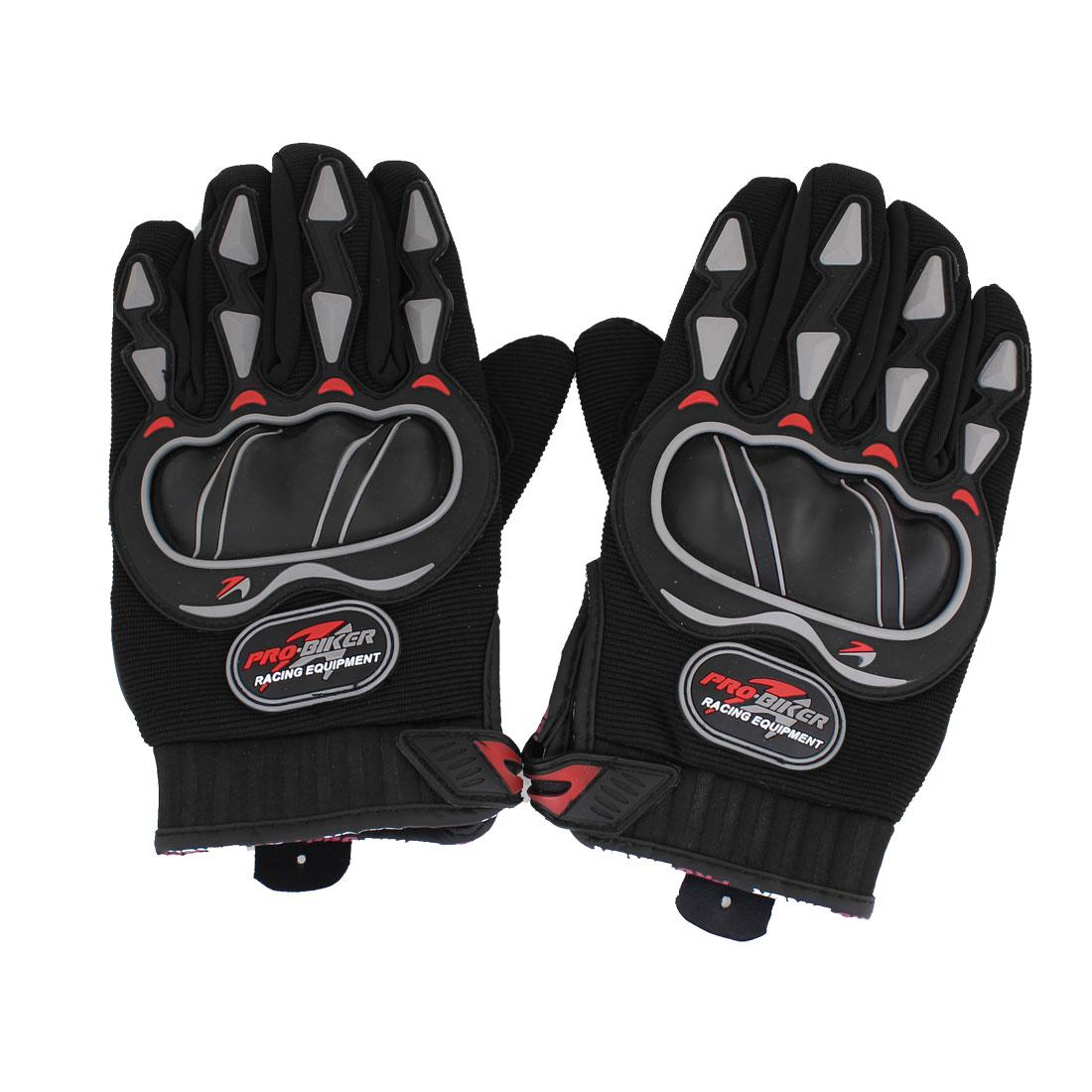 Pair Black Antislip Palm Design Full Finger Motorcycle Sports Gloves for Man