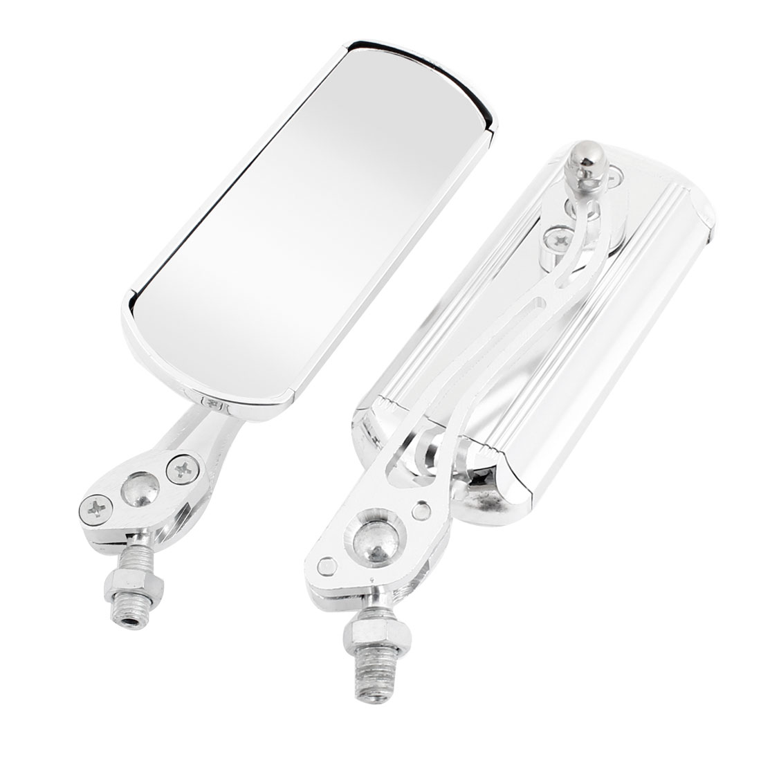 2PCS Silver Tone Metal Handle Rectangular Motorcycle Rearview Mirror