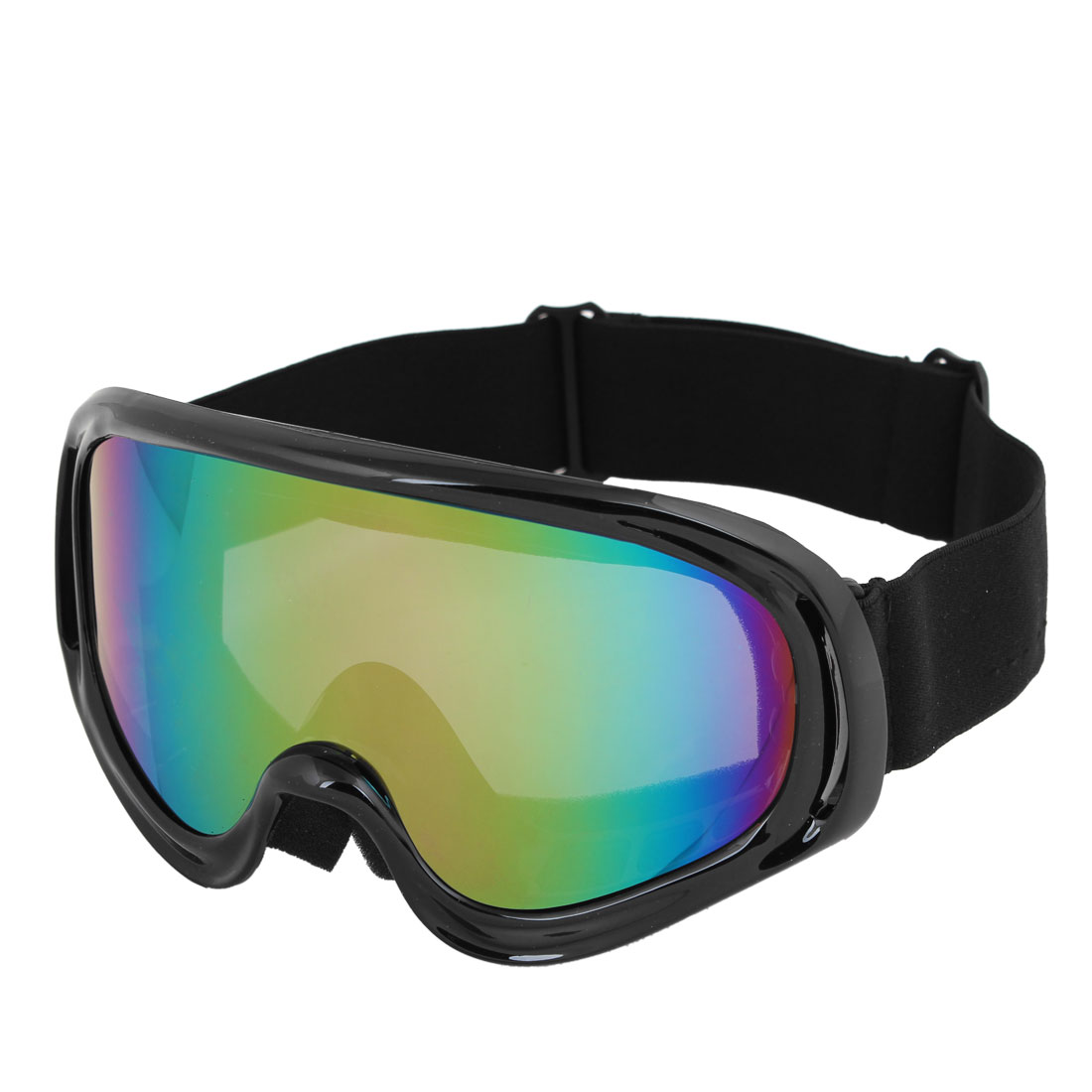 Men Black Frame Elastic Strap Colorful Lens Windproof Motorcycle Goggles Eyewear