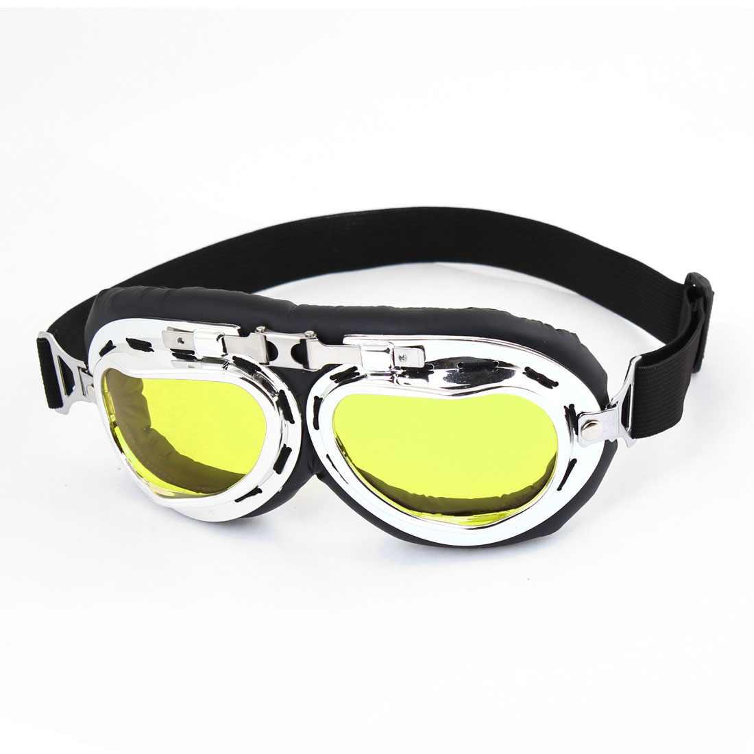 Woman Man Foldable Frame Elastic Band Yellow Lens Motorcycle Goggles Glasses
