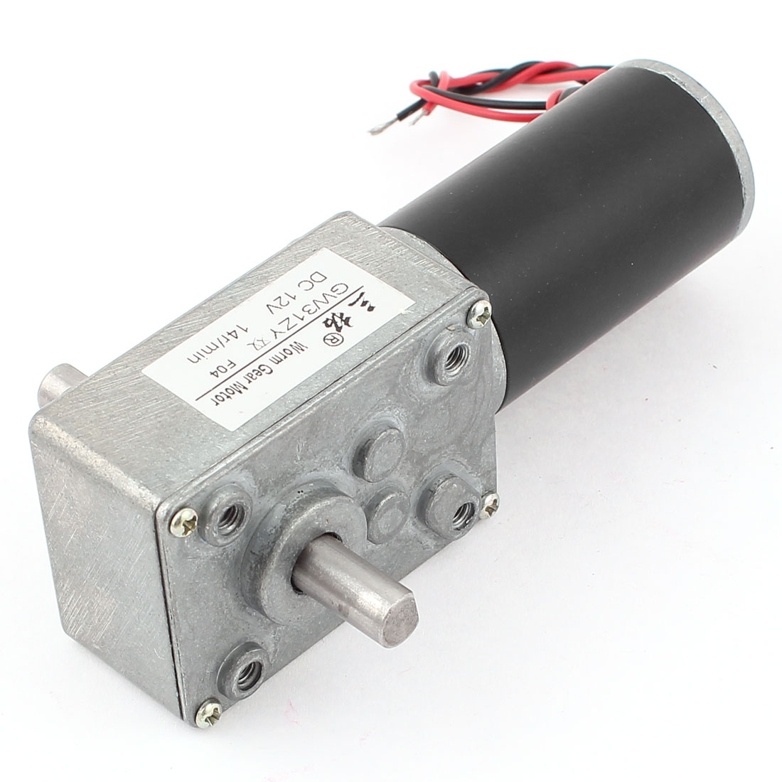 GW31ZY DC 12V 14RPM 8mmx13mm Double Shaft Worm Geared Motor