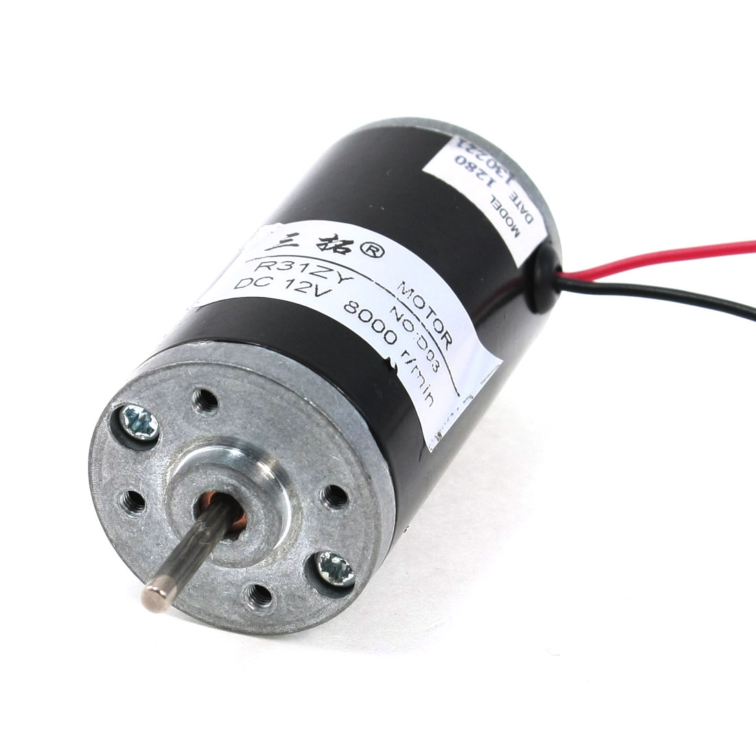 12V 8000 RPM 2 Wire Terminals Cylindrical Micro DC Motor