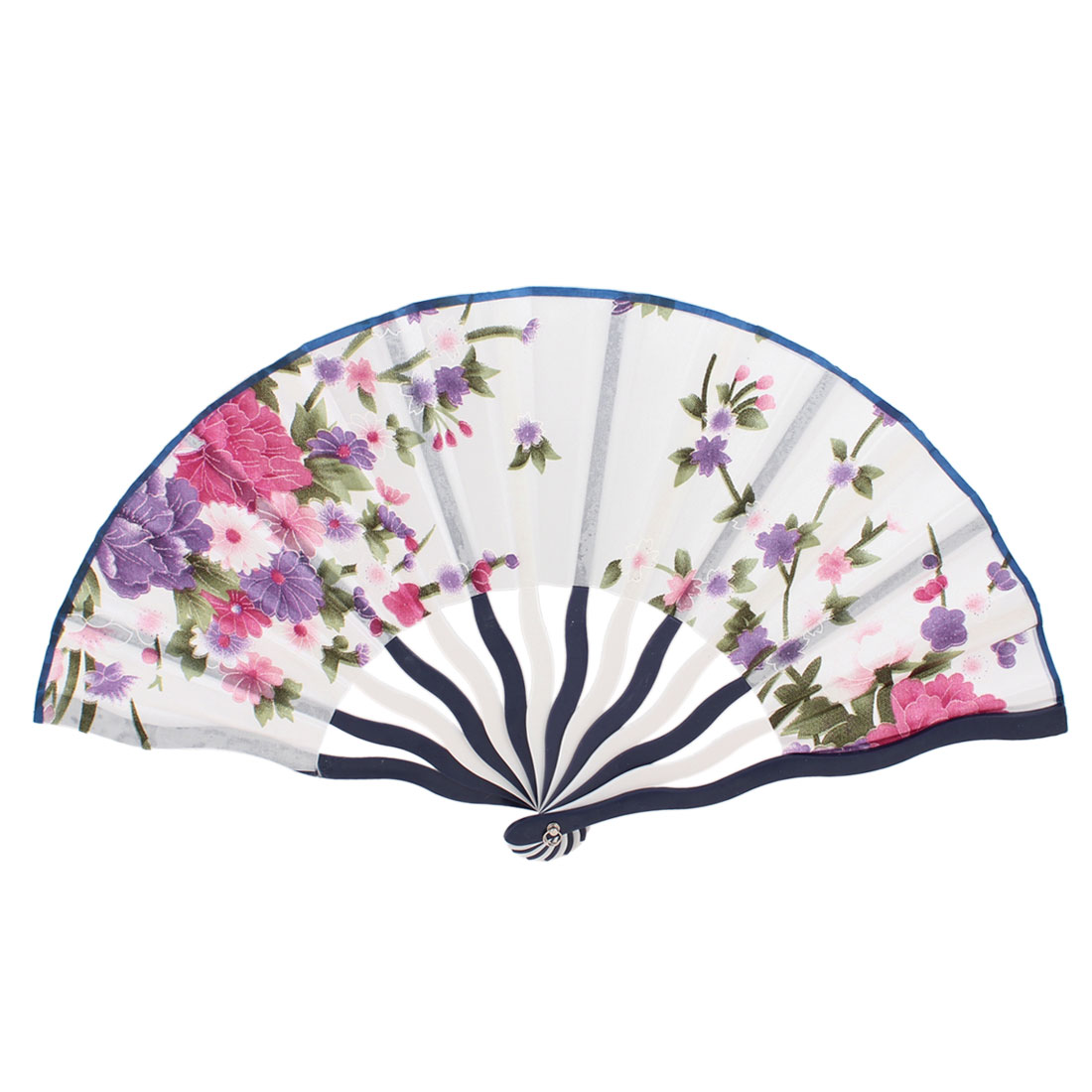 Pink Purple Green Plastic Curved Frame Design Folding Hand Fan 15""