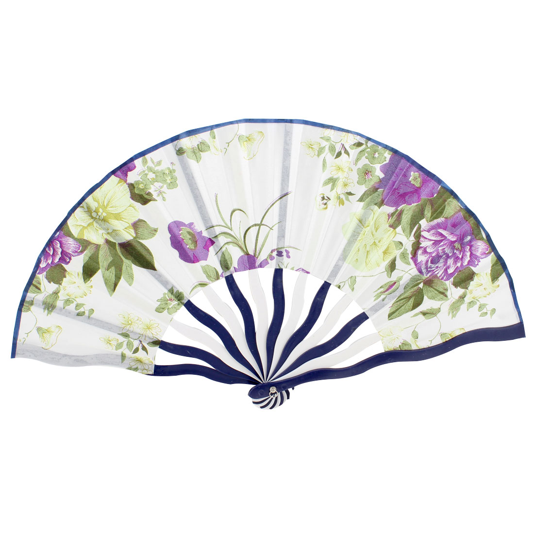 Oriental Small White Fabric Plastic Frame Folding Dancing Fan Art