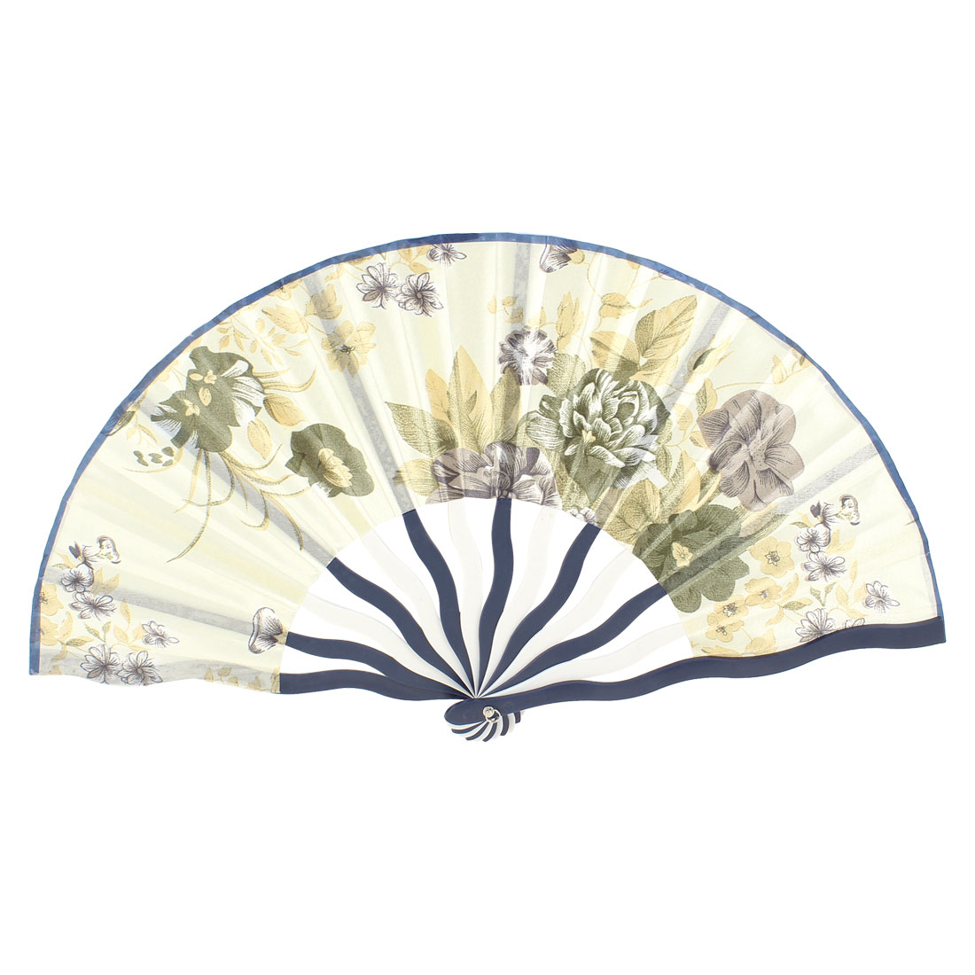 Army Green Peony Leaf Printed Plastic Frame Hand Fan for Girl
