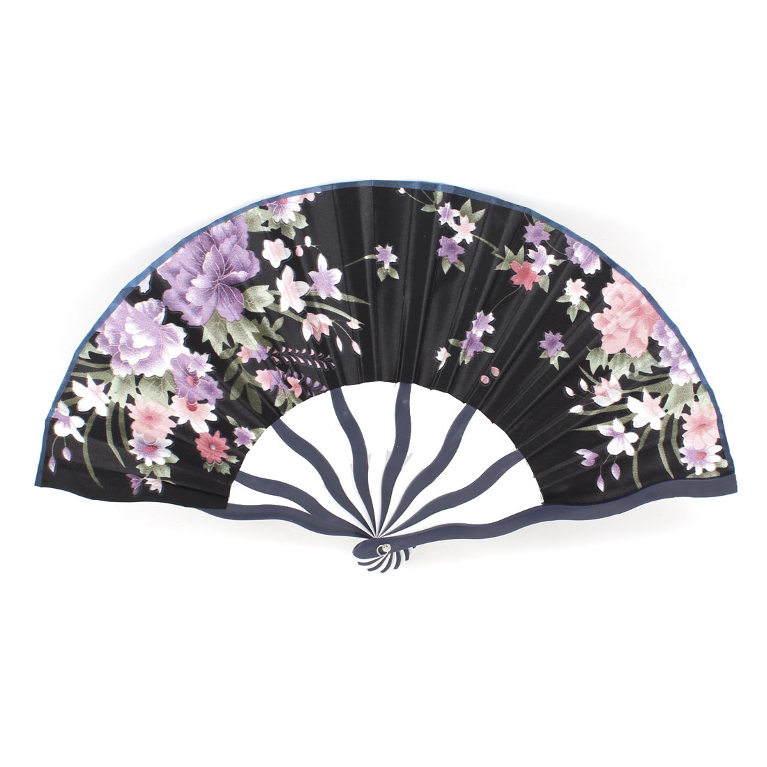 Oriental Army Green Leaf Fabric Plastic Frame Folding Dancing Fan