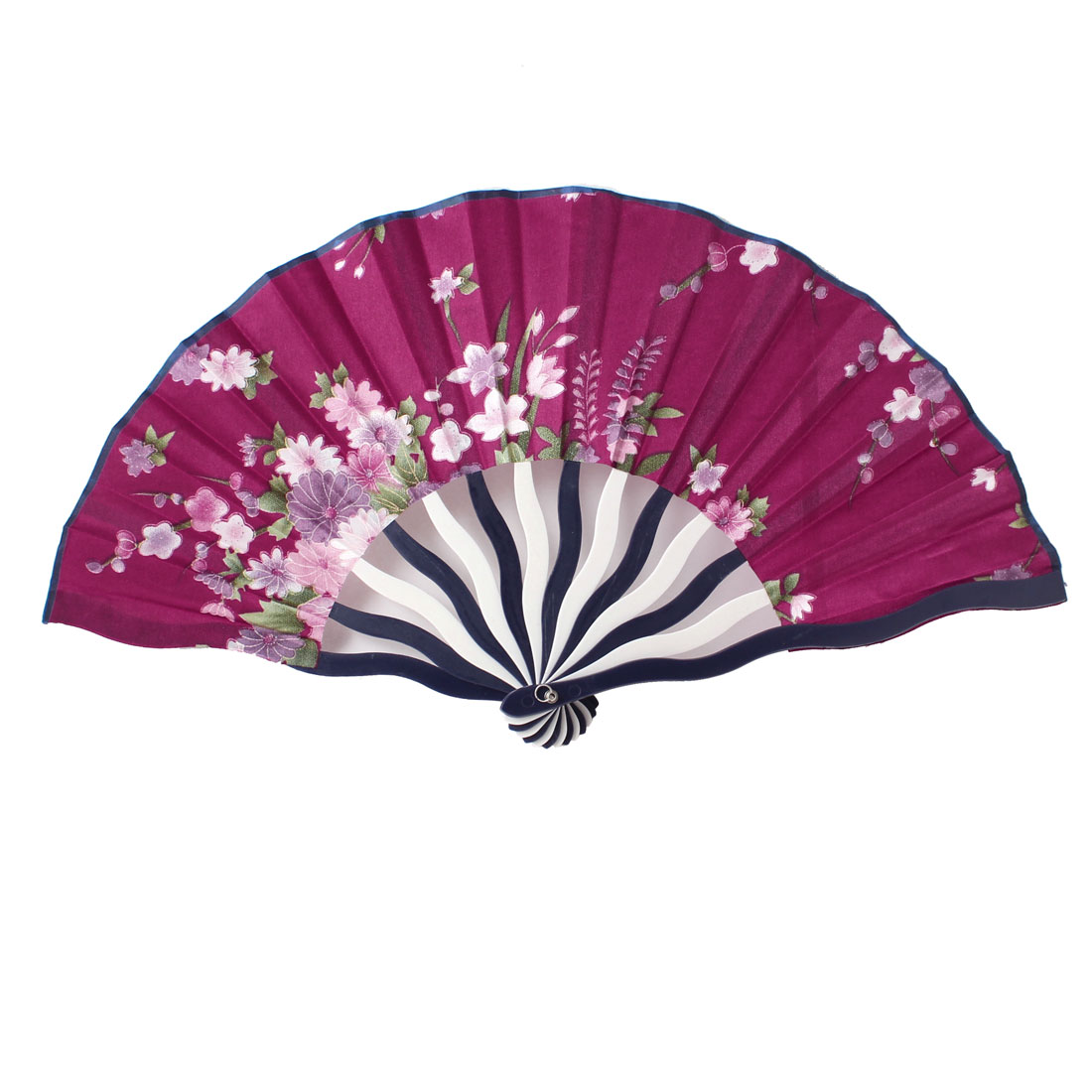 Colorful Flower Pattern Foldaway Cooling Hand Fan Amaranth for Ladies